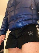 Fabulous Adidas Vintage Shiny Nylon Satin Shorts XL D8 Black And White Unlined