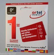 Ortel Mobile Prepaid E-Plus SIM-Karte unregistriert vom Händler