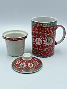 Chinese Ceramic Tea Infuser Mug & Lid With Strainer Red Lotus Flower Design LN