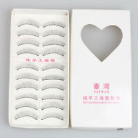Fashion 10Pairs Black Natural Long Eye Lashes Makeup Handmade False Eyelashes