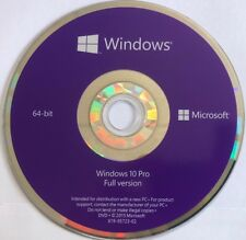 Microsoft Windows 10 Pro 64 Bit Bootable DVD Official Installation DVD Disc