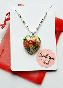 Handmade Resin Love Heart With Polymer Fruit Pieces Fruit Jewellery Polymer Fun