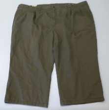 St Johns Bay Pants Mens Size 54X22 Hemmed Green Relaxed Fit Khaki Pants New