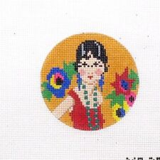 The Meredith Collection Round Art Deco Josephine Handpainted Needlepoint Canvas