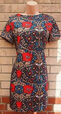GLAMOROUS DARK GREY RED BLUE FLORAL BAGGY TUBE SUMMER TEA RARE DRESS 8 S