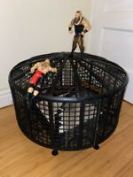WWE MATTEL ELIMINATION CHAMBER CAGE WRESTLING PLAYSET WITH RING WRESTLING WWF