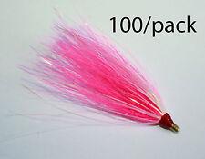 "LOT OF 100 SEA STRIKER Bucktail Teaser Fishing Lures 3"" BULK - Pearl/Pink/Mylar"