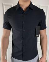 Lululemon Mens Size L Airing Easy SS Buttondown Black BLK Short Sleeve Swift
