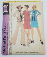 Vintage 1973 Mccalls Pattern 3731 Misses Jacket or Vest Skirt Pants Sz 10 UNCUT
