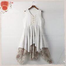 Summer Fashion Mori Girl Sleeveless Skirt Sweet Chiffon Dress Washed Cotton