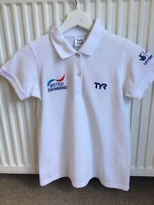 Unisex TYR Great Britain swimming White Polo Shirt