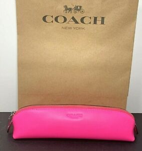 Coach Neon Pink Leather Pencil Case Florescent Pink C5713 New