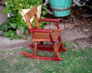 Antique Rustic Childs Rocking Chair ~Original Red Paint~Solid Oak~Handmade USA