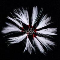 Saltwater Fishing Treble Hook White Feather Carbon Steel Hooks Bait 20pcs LJ