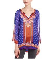 NWOT Hale Bob Sheer V-Neck Silk Tunic Blouse 5BAM2665 in Blue Multicolor, Medium