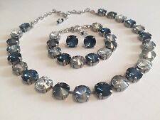 Swarovski Crystal Elements Blues And Silver Cup Chain 12mm Jewelry Set Bridal