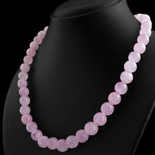 435.00 CTS NATURAL RICH PINK ROSE QUARTZ ROUND BEADS NECKLACE - HIGH QUALTY