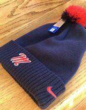 $30 Nike OLE MISS POM BEANIE navy blue red white winter knit hat men/women rebel