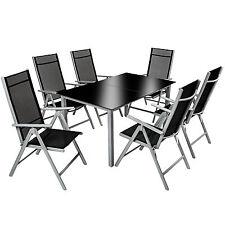 Aluminio conjunto muebles para jardin 6+1 silla adjustable mesa de cristal 7 pc