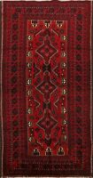 Tribal Geometric Balouch Traditional Oriental Area Rug Handmade Wool Carpet 3x6