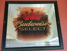 Budweiser Select Beveled Mirror w/ Black Frame Bar Sign 24 x 23 inches