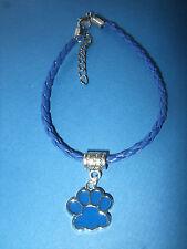 Handmade Dog Paw Print Leather Bracelet Dark Blue with Charm Crossbreed Pedigree