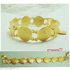 Coins 22K 23K 24K THAI BAHT YELLOW GOLD GP Bracelet Bangle B 99