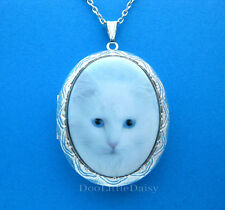 Cats Porcelain White Siberian Cat Cameo Locket Pendant Necklace Christmas Gift