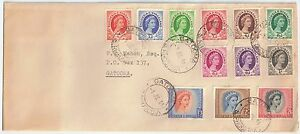 Rhodesia & Nyasaland 1954 FDC Definitives 1/2d to 10s [14] Jul 1 Gatooma