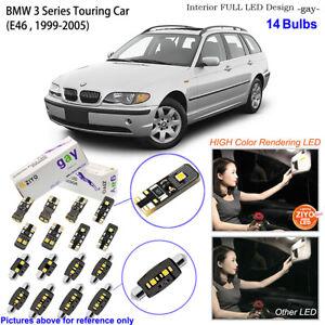 14 Bulbs Deluxe LED Interior Light Kit White For BMW 3 Series E46 Touring Car