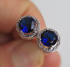 18K White Gold Filled - Round Navy Blue Topaz Hollow Lady Cocktail Stud Earrings