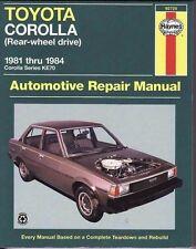 New Haynes Toyota Corolla (RWD) KE70 1981-1984 Repair Manual WORKSHOP SERVICE