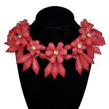 Statement Collier Halskette Luxus Chunky Kette Kristall Optik Blume rosa rot mat