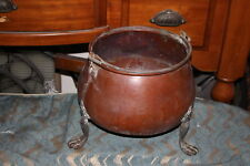Antique Primitive Middle Eastern Arabic Copper Metal Footed Cauldron W/Handle