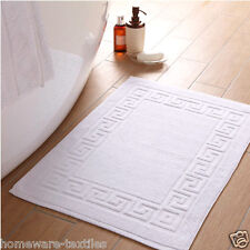 2x Bath Mats Hotel Quality 1000 GSM Greek Key Style 100% Cotton White