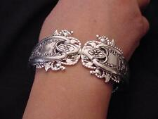 ANTIQUE OLD COLONY HINGED CUFF BRACELET TRIPLE PLATED SILVER FORKS!