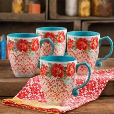 The Pioneer Woman Vintage Floral 4-Piece 26-Ounce Latte Mug Set Stoneware Cups