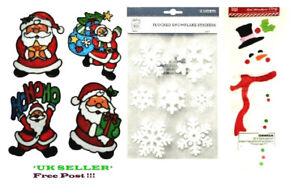 Christmas Gel Window Stickers Xmas Party Decoration Santa Snowman Snowflake New