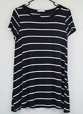Acemi Size L Black White Stripe T Shirt Dress Stretch Casual Short Sleeve