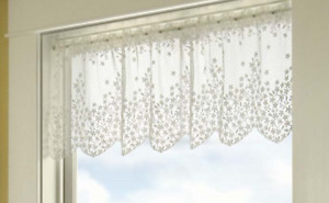 """Heritage Lace White BLOSSOM Window Valance 42""""Wx15""""L - Made in USA!"""