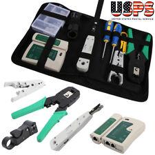 Rj11/Rj45 Ethernet Cable Hand Crimper Network Tester Tool Set Us Stock
