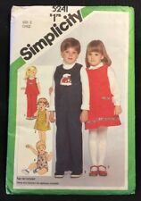 Simplicity Children's Clothing Pattern 5241 Size 2 New 1981