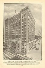 Chicago, IL. The New Passenger Station In Chicago, Vintage 1903 Antique Print