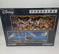 Clementoni Disney Panorama 2 x 1000 piece Jigsaw Puzzles in 1 box - UK Seller