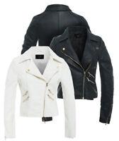 Size 8 10 12 14 NEW Women's BIKER JACKET PU FAUX LEATHER Ladies Ivory White