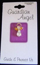 November birthstone Guardian Angel pin, topaz crystals, carded
