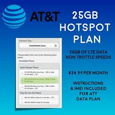 New listing At&T 25Gb Untrottled Data Plan 4G Lte $35 Month For Hotspot - Sim Included! 🔥