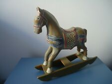 Antique Hand-Carved Wooden Rocking Horse Toy hand  Painted Germany