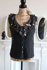 ELIE TAHARI Ladies Black Sheer Silk Ruffled V Neck Buttoned Sleeveless Top XS