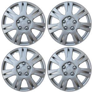 "KT-1008S-15 4 Silver 15/"" Hubcaps Full Wheel Rim Covers w//Steel Retention Clips"